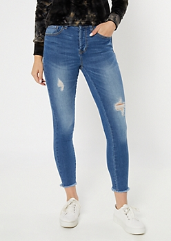 Medium Wash Ripped Frayed Skinny Jeans
