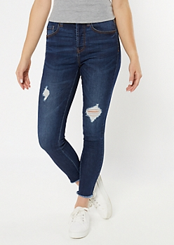 Dark Wash Ripped Frayed Skinny Jeans