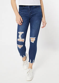 Medium Wash Blown Knee Raw Skinny Jeans