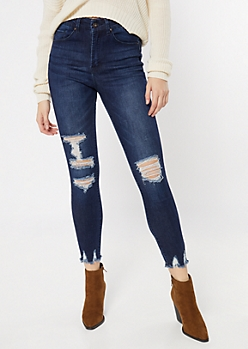 Dark Wash Blown Knee Raw Skinny Jeans