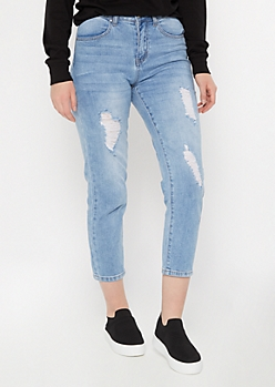 Throwback Light Wash Distressed Mom Jeans