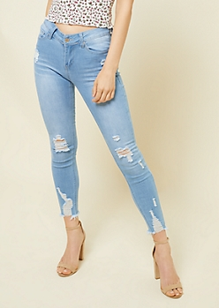 Light Wash Mid Rise Frayed Ankle Booty Jeans