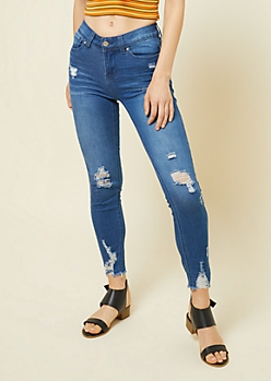 Medium Wash Mid Rise Frayed Ankle Booty Jeans