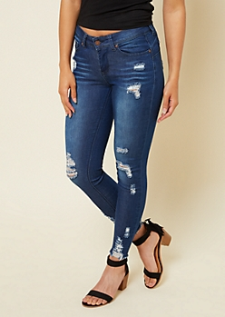 Dark Wash Mid Rise Frayed Ankle Booty Jeans