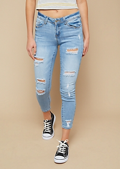 Light Wash Distressed Mid Rise Cropped Skinny Jeans