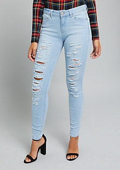 Light Wash Mid Rise Destroyed Skinny Jeans