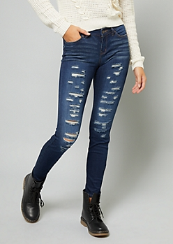 Dark Wash Mid Rise Destroyed Skinny Jeans