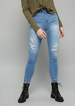 Light Wash High Waisted Distressed Ankle Booty Jeans