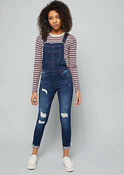 Dark Wash Distressed Cropped Jean Overalls