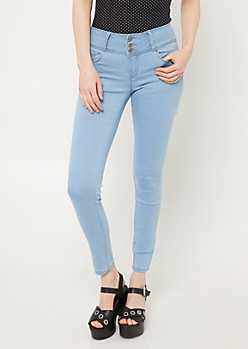 Light Wash Button Front Skinny Jeggings