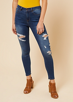 Dark Wash High Waisted Distressed Side Skinny Jeans