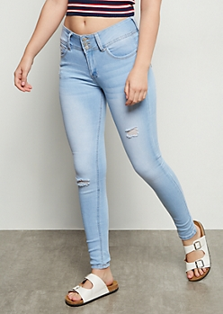 Light Wash Triple Button Skinny Booty Jeans
