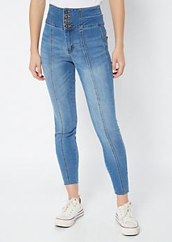 Medium Wash Exposed Button Raw Cut Skinny Booty Jeans