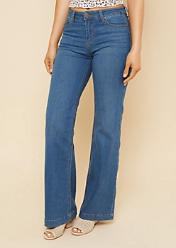 Medium Wash Mid Rise Retro Wide Leg Jeans
