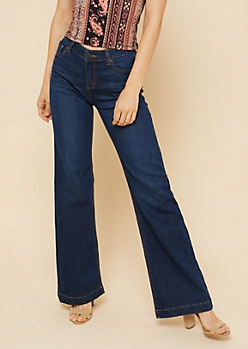 Dark Wash Mid Rise Retro Wide Leg Jeans