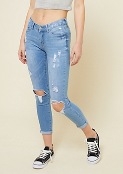 Light Wash Low Rise Ripped Knees Skinny Cropped Jeans