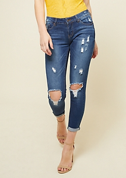 Dark Wash Low Rise Ripped Knees Skinny Cropped Jeans