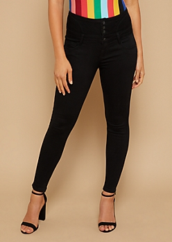 Black High Waisted Lace Up Back Cropped Booty Jeans