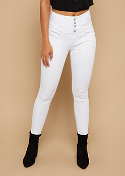 White High Waisted Lace Up Back Cropped Booty Jeans