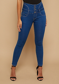 Medium Wash High Waisted Lace Up Back Cropped Booty Jeans