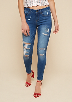 Medium Wash Mid Rise Distressed Booty Jeans