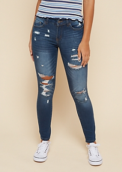 Dark Wash Low Rise Distressed Booty Jeans