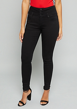 Black High Waisted Triple Button Skinny Booty Jeans