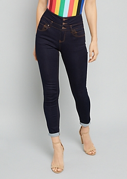 Dark Rinse High Waisted Triple Button Skinny Booty Jeans