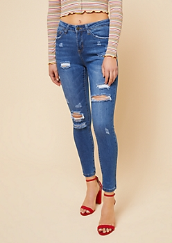 Medium Wash High Waisted Ripped Skinny Jeans