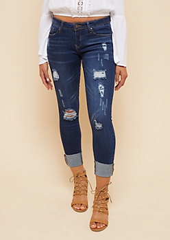 Dark Wash Distressed Cuffed Hem Cropped Booty Jeans