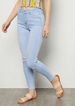 Light Wash High Waisted Distressed Skinny Jeans