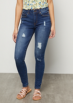 Dark Stone Wash High Waisted Distressed Skinny Jeans