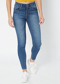 Medium Wash Exposed Button Skinny Booty Jeans