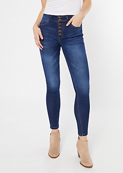 Dark Wash Exposed Button Skinny Booty Jeans