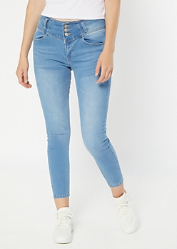 Light Wash Triple Button Booty Jeans