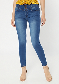 Medium Wash Triple Button Booty Jeans