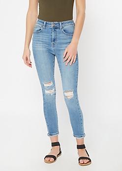 Light Wash Blown Knee Booty Skinny Jeans