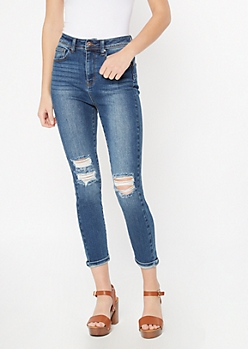 Dark Wash Blown Knees Booty Skinny Jeans