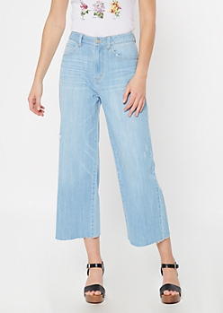 Light Wash Raw Cut Wide Leg Mom Jeans