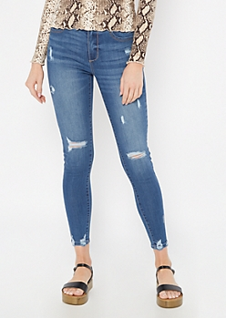 Medium Wash Distressed Skinny Booty Jeans