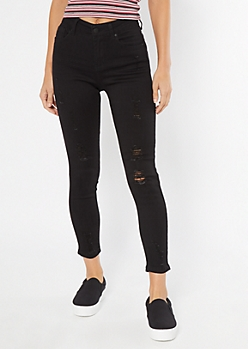 Black Distressed Skinny Booty Jeans