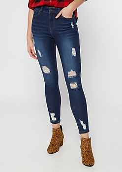 Dark Wash Distressed Skinny Booty Jeans