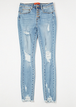 Light Wash High Waisted Ripped Booty Jeans