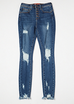 Dark Wash High Waisted Ripped Booty Jeans