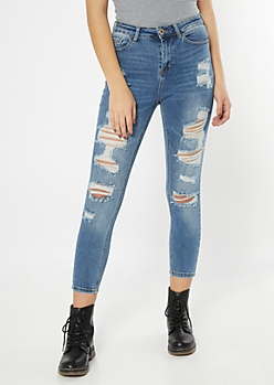 Throwback Medium Wash Torn High Waisted Jeggings