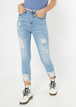 Light Wash Frayed High Rise Jeggings