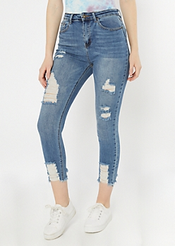Medium Wash Frayed High Waisted Jeggings