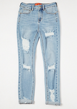 Light Wash High Waisted Rolled Cuff Booty Jeans