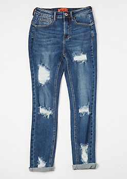 Dark Wash High Waisted Rolled Cuff Booty Jeans