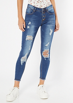 Dark Wash Frayed Exposed Button Skinny Jeans